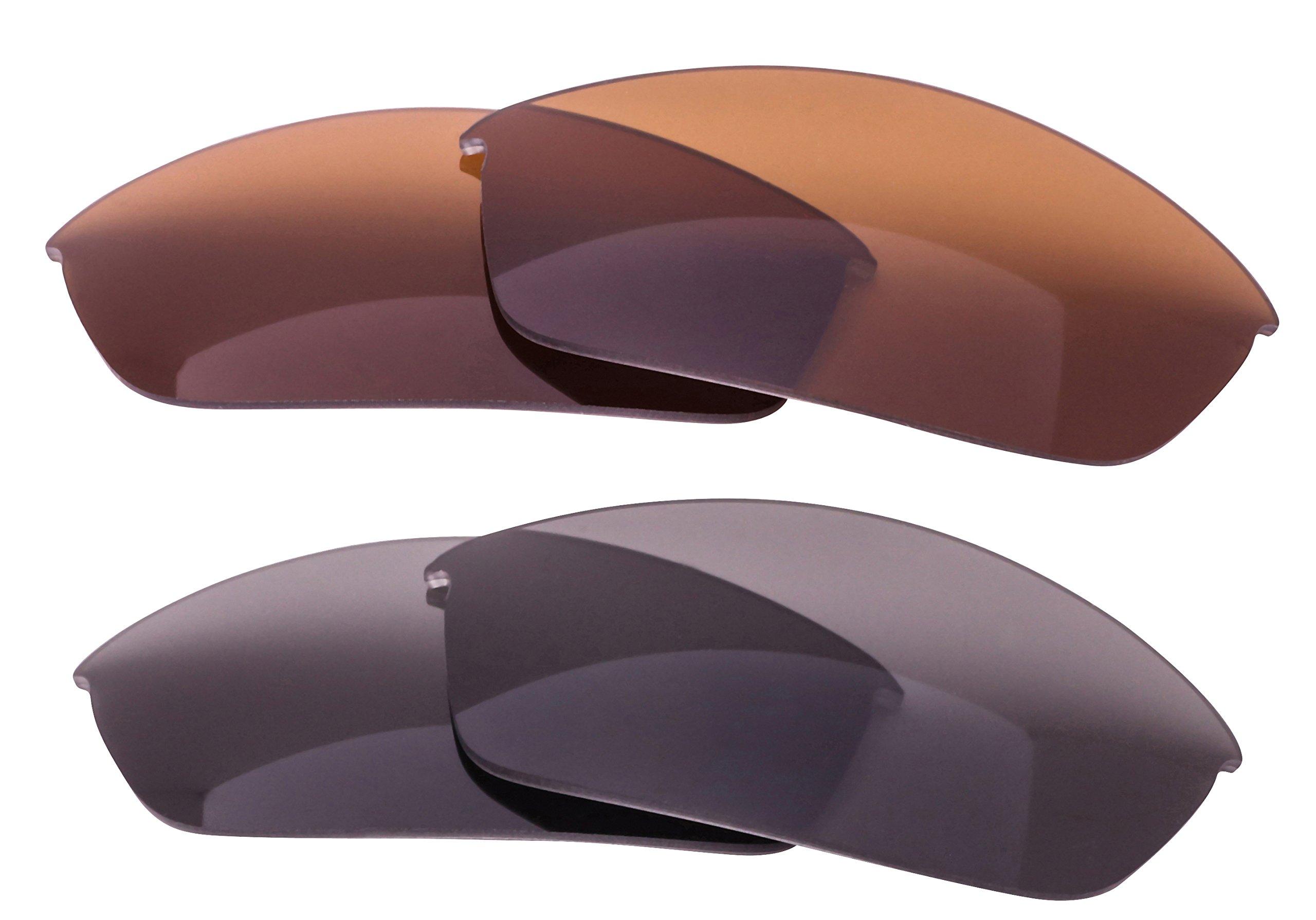 LenzFlip Oakley FLAK JACKET Lens Replacement - Basic Combo 2 Pk- Gray & Brown Polarized by LenzFlip