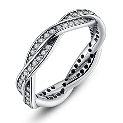 0439cf231 BAMOER 925 Sterling Silver Braided Pave Ring with Clear Cubic Zirconia  Twist Of Fate Stackable Jewelry Szie 9: Amazon.co.uk: Jewellery