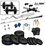 Protoner Unisex Adult with 4 Rods 30Kg Weight Plates,5Ft Rod,3Ft Curl Rod,2D rods Home Gym Dumbell Set,Accessories - Black