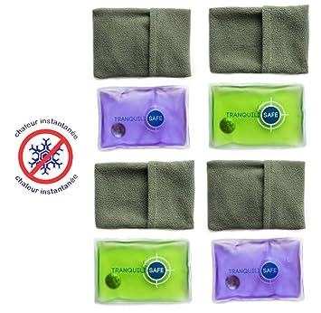 TRANQUILISAFE ® - Set de 4 calentadores de bolsillo - reutilizables y Prácticos - botella de