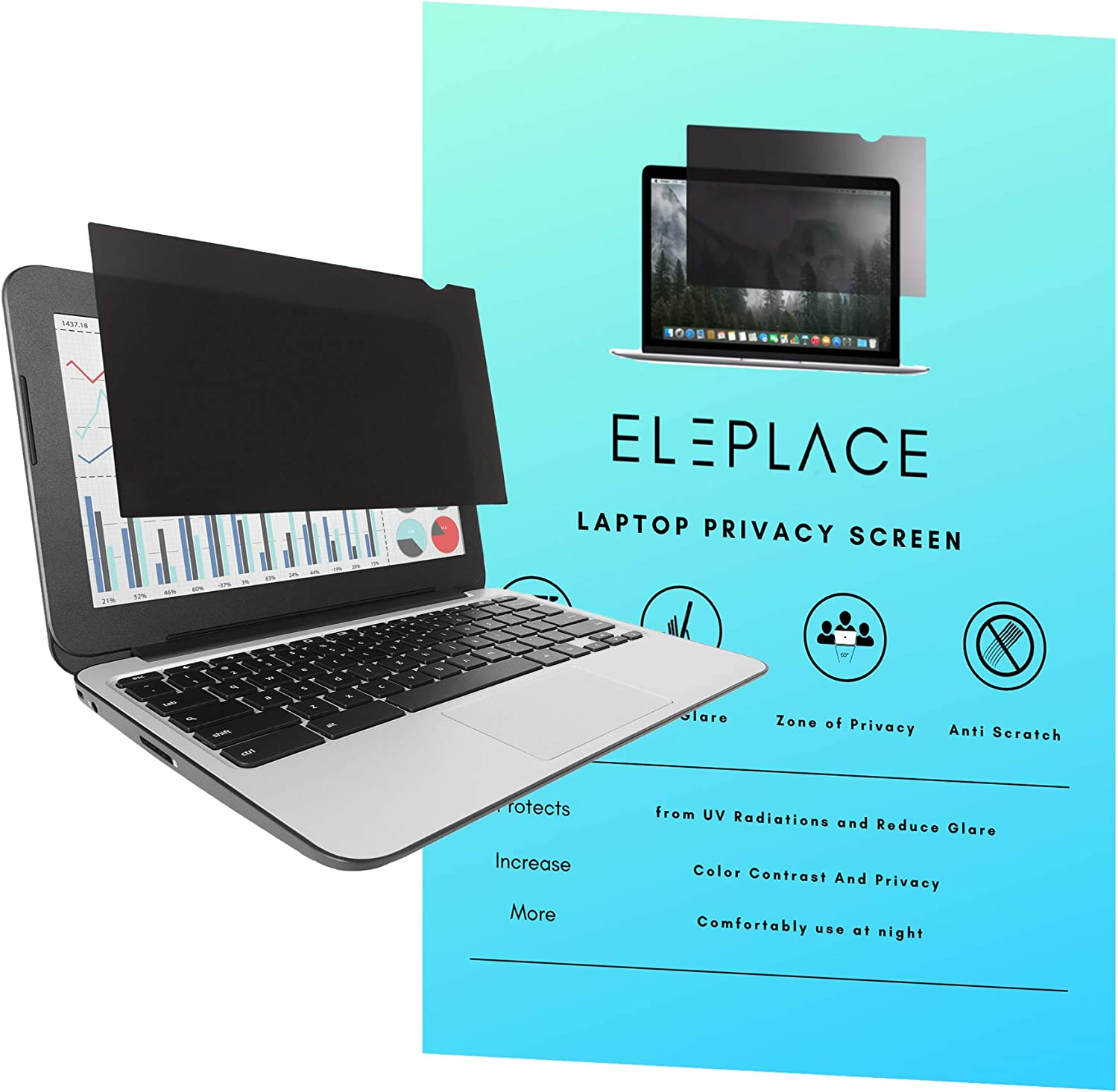 Eleplace 15.6 Inch Laptop Privacy Filter for Widescreen Display 16:9 Aspect Ratio, Anti Scratch Anti-Glare Laptop Screen Protector