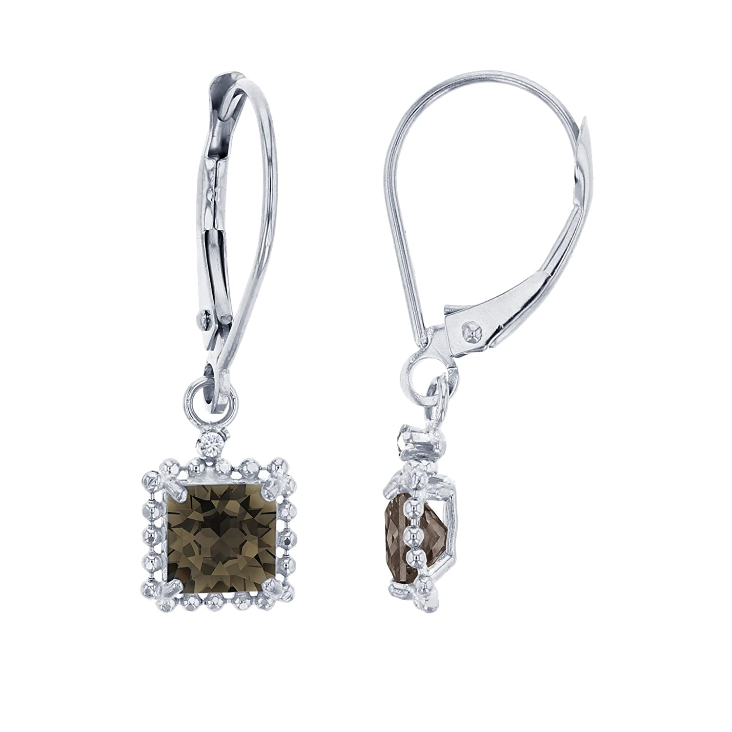 14K White Gold 1.25mm Round /& 5mm Square Bead Frame Drop Leverback Earring