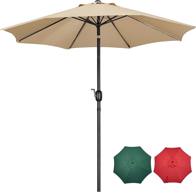 YAHEETECH 9FT Patio Umbrella Outdoor Umbrella Patio Yard Market Table Umbrella with Push Button Tilt & Crank for Garden/Beach/Lawn/Deck/Backyard/Pool, 8 Ribs, Tan