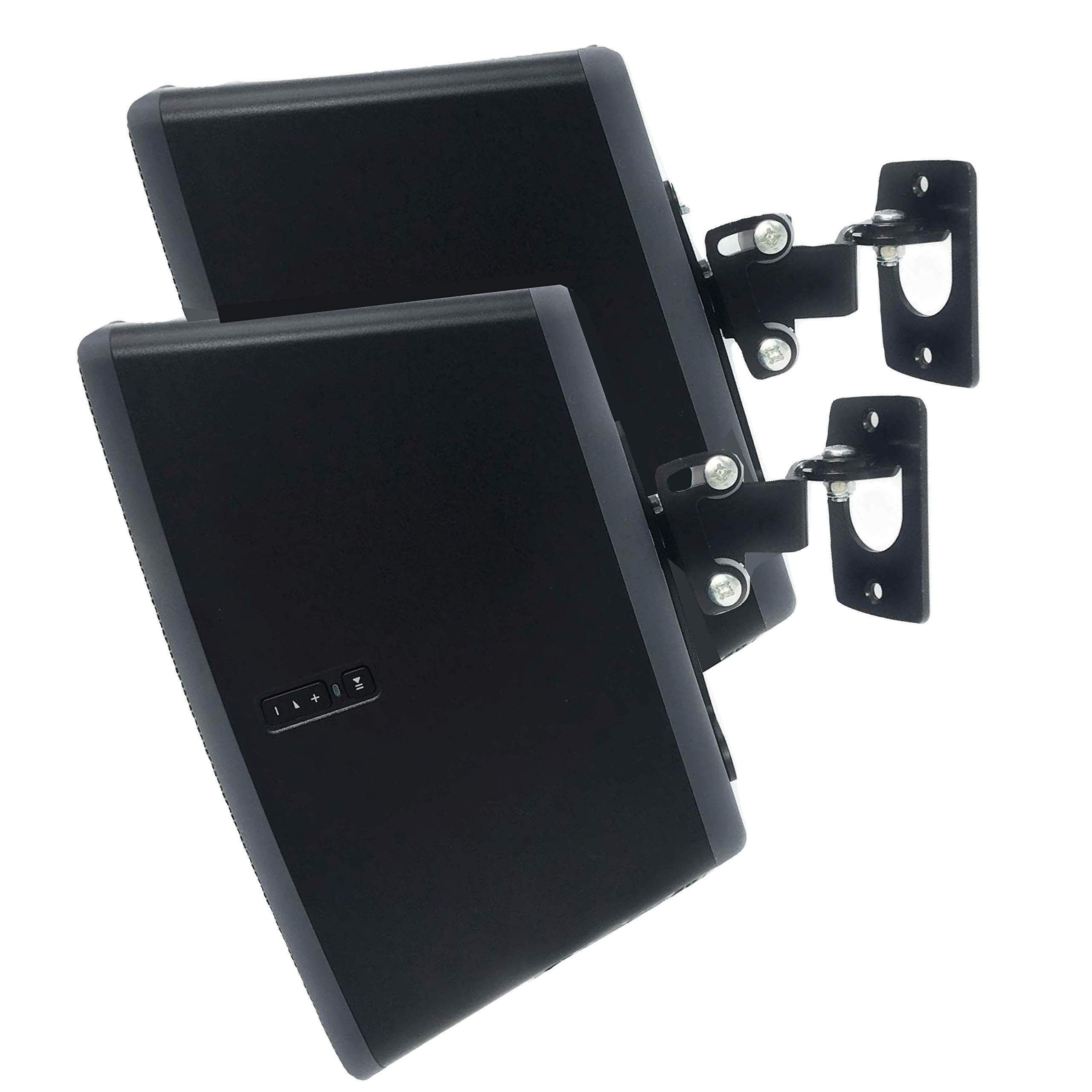 2 x Soundbass Wall Mount for Sonos Play 3, Twin Pack, Black, Adjustable Swivel & Tilt Mechanism, 2 Brackets for Play:3 Speaker with Mounting Accessories