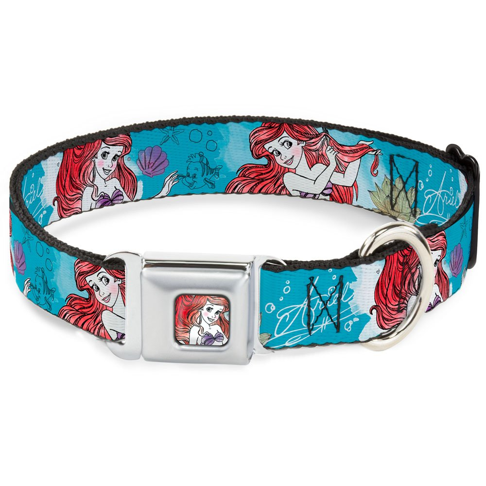 Buckle-Down Seatbelt Buckle Dog Collar Ariel Sketch Poses bluees Lavender 1  Wide Fits 15-26  Neck Large