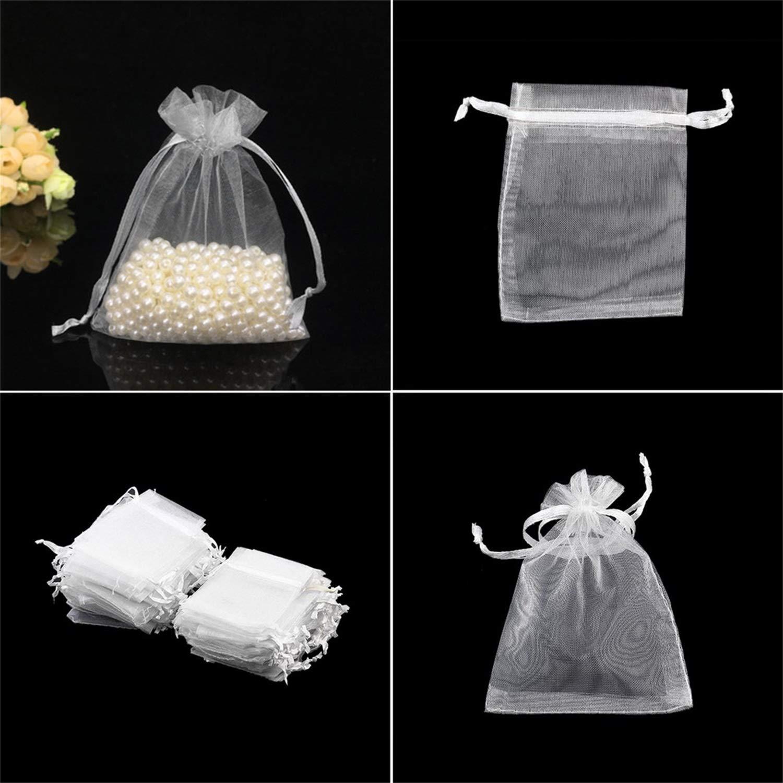 100pcs / lot Dessins Blanc Petits Organza Sacs 7x9cm Favor Mariage Cadeau De Noë l Sac Bijoux Emballage Sacs & Pochettes Dé coration FairytaleMM