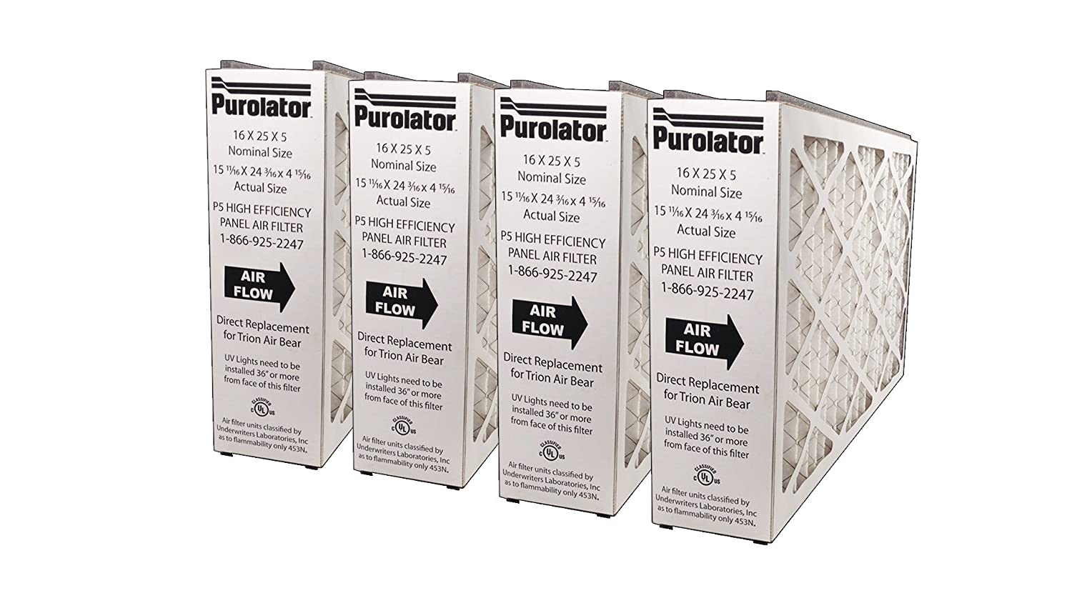 Sterling Seal P5MV13 16X25X5X4XCS Purolator High End Filter Replacement for Trion Air Bear 16 x 25 x 5 Pack of 4