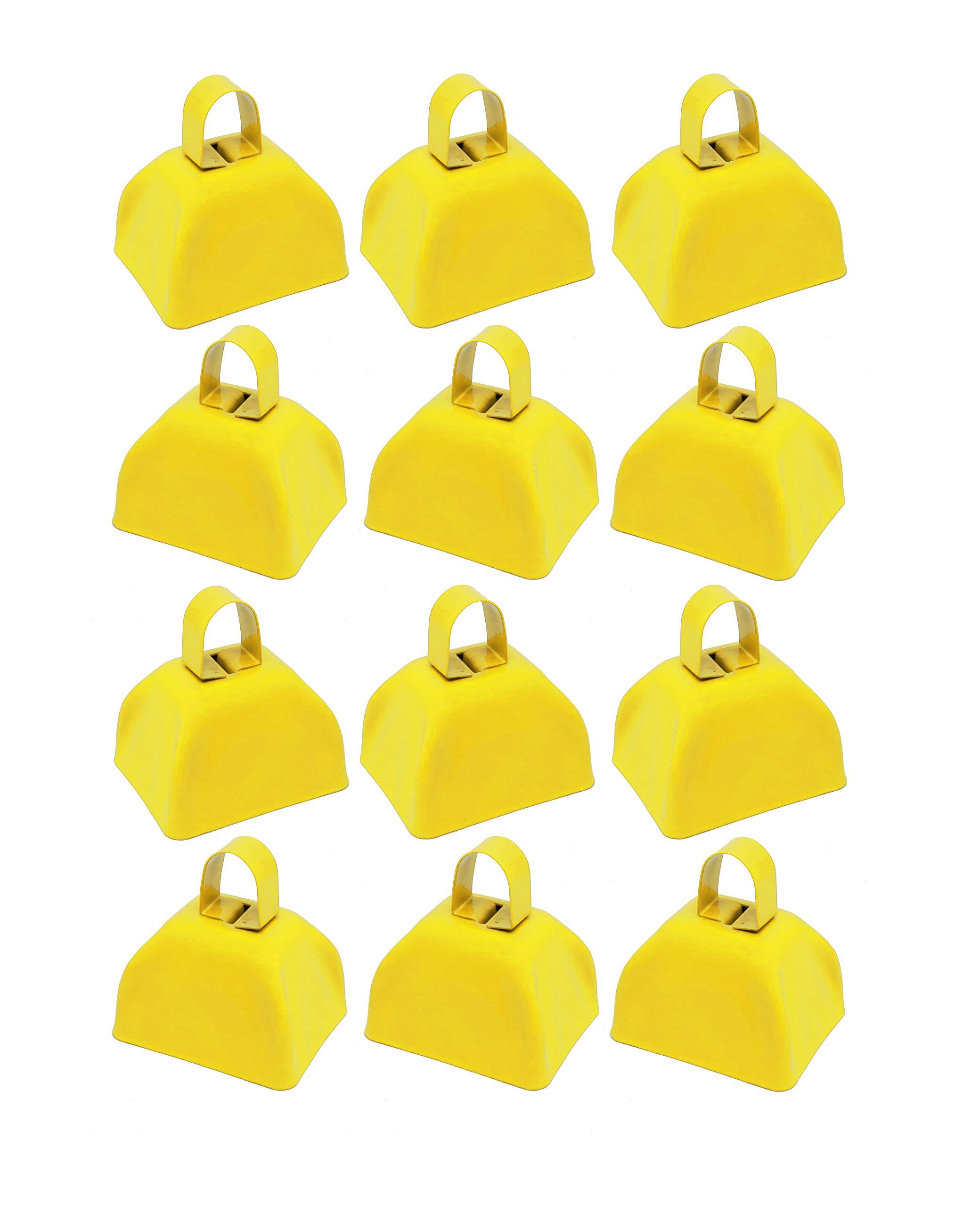 Metal School Cowbells - Set of 12 Yellow Metal Cowbell Noisemakers (Yellow Cowbells) by SNInc.