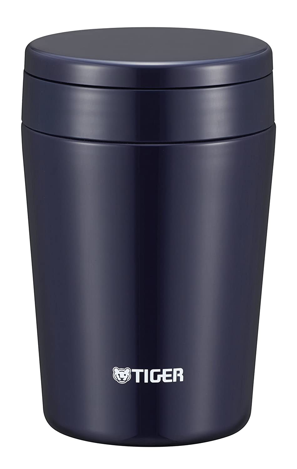 Tiger thermos vacuum insulation soup jar 380ml warm lunch box wide-mouth round-bottom indigo blue MCL-B038-AI