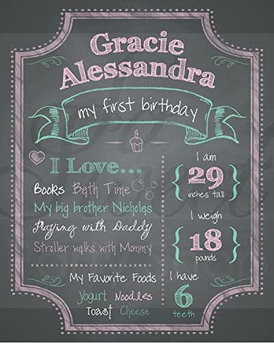 amazon com 1st birthday chalkboard print girls 1st birthday