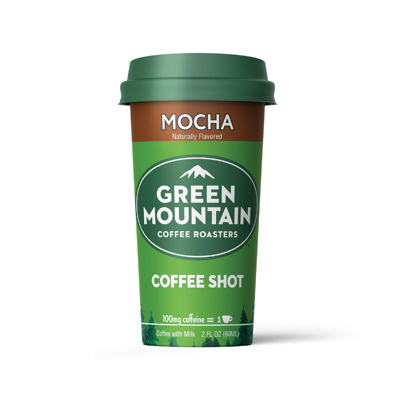 Green Mountain Coffee Shot - 100mg Caffeine, Mocha, Premium coffee energy boost in a ready-to-drink 2-ounce shot, Single Bottle Sample