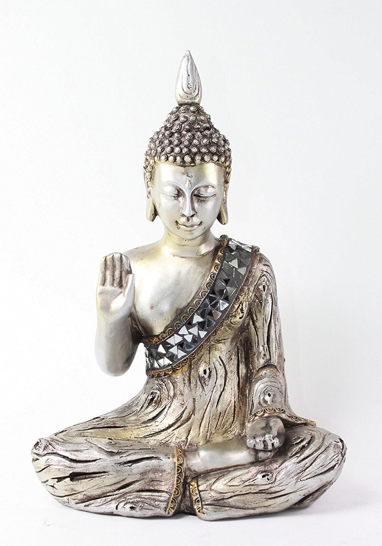 "Feng Shui 11"" Silver Buddha Fear Not Mudra & Welcome Mudra Home Decor Statues"