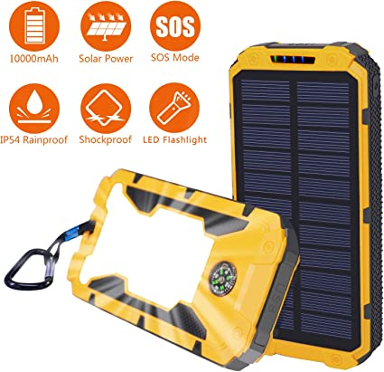 BEARTWO 10000mAh Solar Phone Charger Outdoor Activities for iOS Android Solar Charger Solar Power Bank with Flashlight for Camping Ultra-Compact Portable Charger with Dual USB Backup Battery Pack