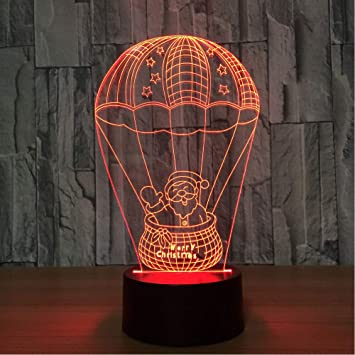 Santa Claus 3d Lamp 7 Color Led Night Light For Kids Gift Wood Grain Usb Touch Table Lamp Christmas Decorative Lamp Lighting Led Night Lights
