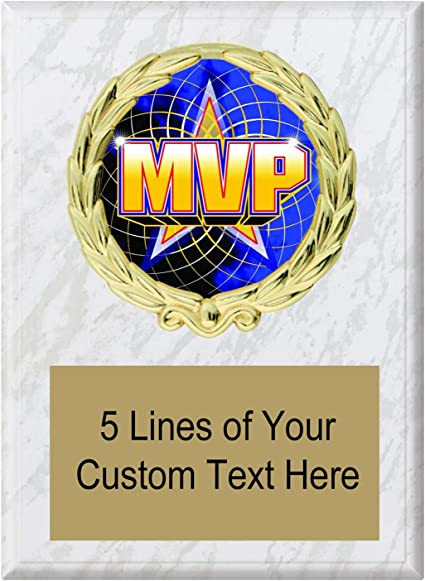 Express Medals 5x7 White Marble Color MVP Most Valuable Player Plaque Award Trophy with Engraved Plate MY4