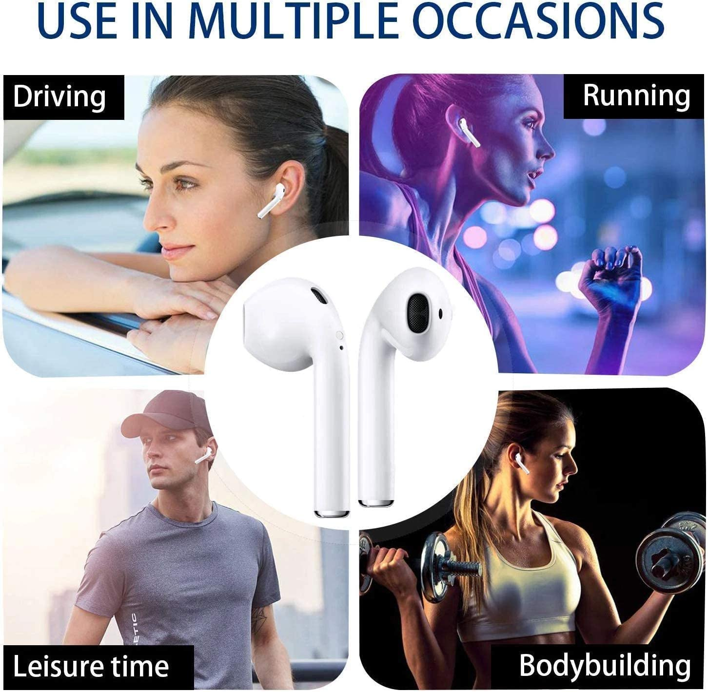 Bluetooth Earphone with Noise Reduction Compatible with Stereo in-Ear Wireless Headset with Microphone and Charging Box Wireless Earbuds Bluetooth Headset Mini Size