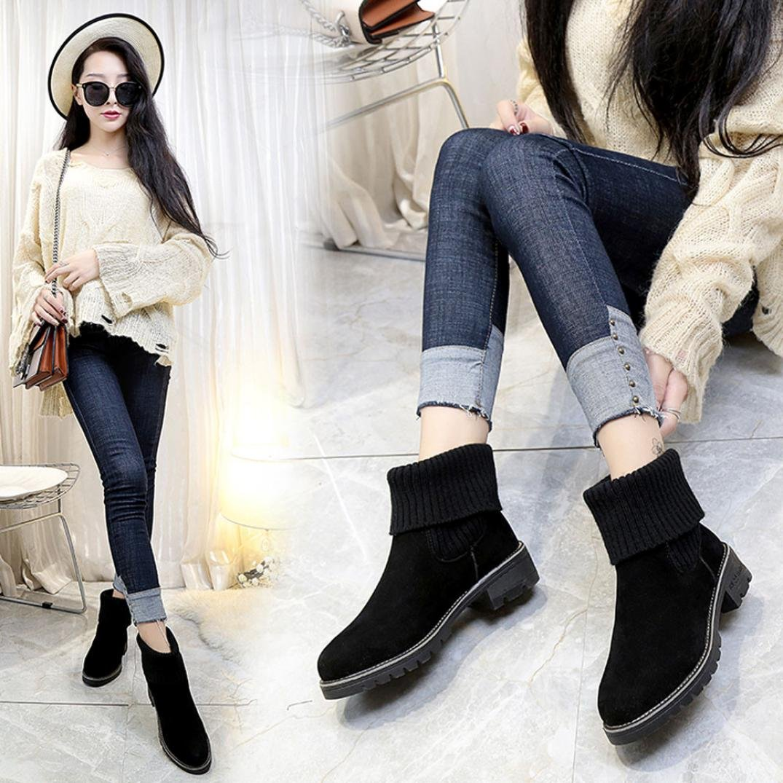 9501ca2b75c85 Amazon.com: New Fashion Womens Flock Knit Low Heel Chunky Ankle ...