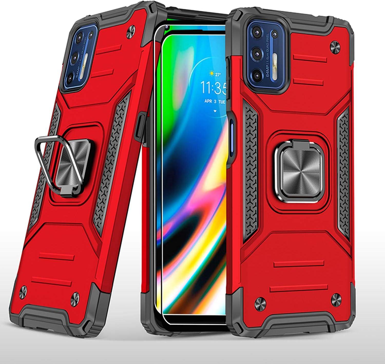 Funda y protector de pantalla para Moto G9 Plus- Rojo
