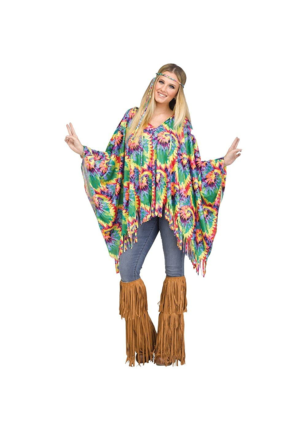 70s Outfits – 70s Style Ideas for Women Tie Dye Hippie Poncho $21.71 AT vintagedancer.com