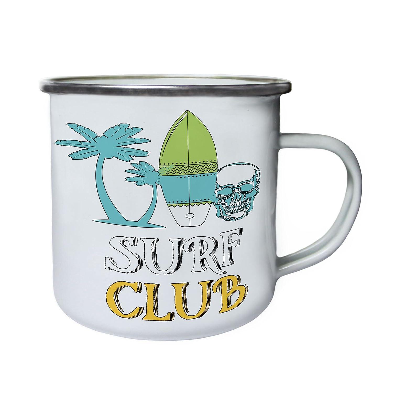 Cráneo Surf Club Surfer Retro, lata, taza del esmalte 10oz/280ml w671e INNOGLEN