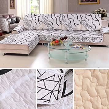 FUA Black And White Striped Sofa Slipcover/Furniture Protector For Sofa  (50X70cm)
