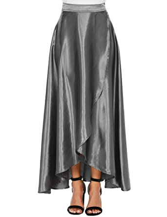 b807028f07f6 Zeagoo Women s Elegant High Waist Pleated Formal Party Full Maxi Midi Skirt  at Amazon Women s Clothing store