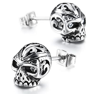 ce003fca9 Amazon.com: INBLUE Men's Stainless Steel Stud Earrings CZ Silver Tone White  Skull: Jewelry