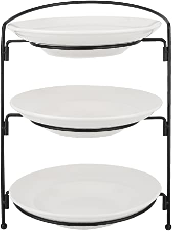 Vancasso 3 Tier Serving Platter Cake Tray Stand Food Server Plate Rack Porcelain Party Celebration And Wedding Food Display Stand Round Platform With 3 Pieces 10 5 Porcelain Dish And Metal Rack Amazon Co Uk