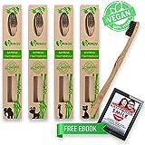Bamboo Toothbrushes Ultra Premium Eco Friendly - Charcoal Bristle Toothbrush - 100% Vegan and BPA Free Toothbrush - Medium Size (4 Pack) - Banov Brush