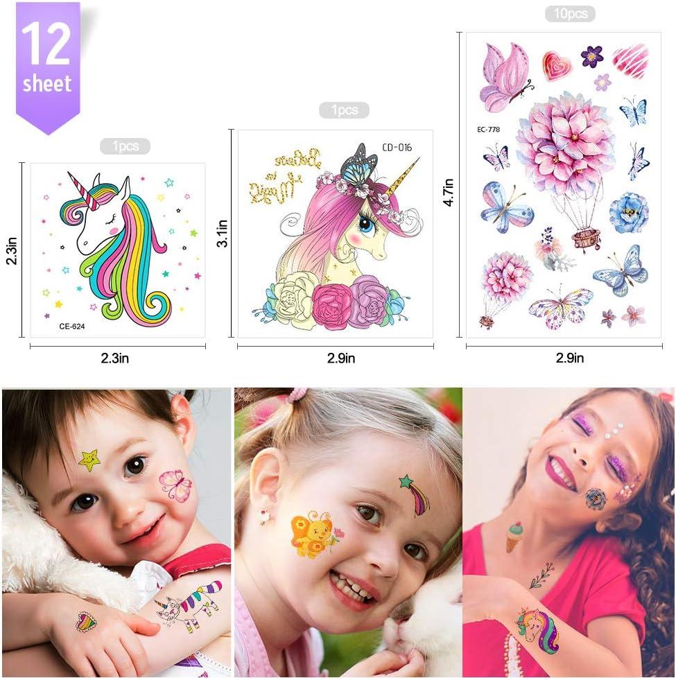 A-Unicorno MMTX 180Falso Tatuaggi Finti Adesivi Giocattoli per Ragazza Bambini Festa Compleanno Impermeabile Etichetta Riempitrici per Sacchetti Regalo 12 Fogli Unicorno Tatuaggi Temporanei