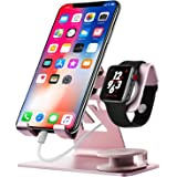 Cell Phone Stand Compatible for Apple Watch Charger IWatch Charging Stand 2 in 1 Aluminium IPad Stand Tablet Desk Docking Station for IPad, iPhone 6s 7 8 X Plus, Nintendo Switch (Rose Gold)