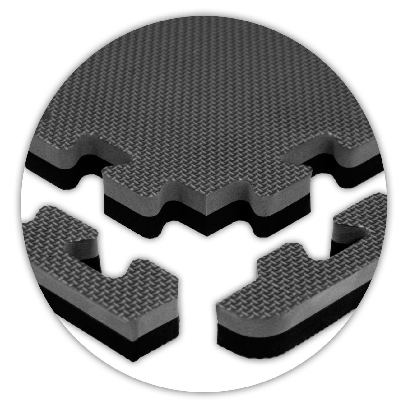 American Floor Mats Jumbo Reversible 7/8'' Thickness Black/Grey 8' x 16' (Set 32 Tiles Total) SoftFloors Interlocking Tiles