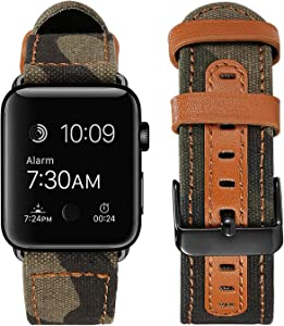 SKYLET Compatible with Apple Watch Bands 44mm 38mm 42mm 40mm Leather Bands, Canvas Fabric Camouflage Wristband with Black Metal Buckle Compatible with Apple Watch Series 6/5/4/3/2/1/se Men Women