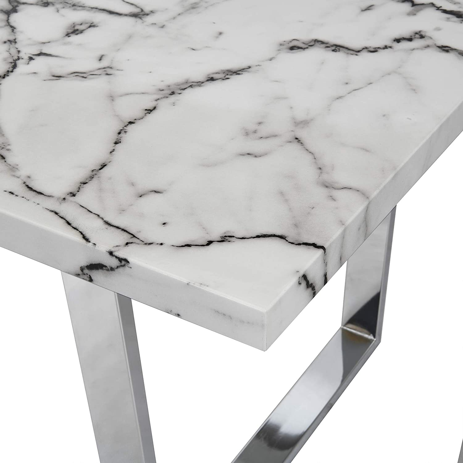 White Cherry Tree Furniture Biasca 6 Seater High Gloss Marble Effect Dining Table With Silver Chrome