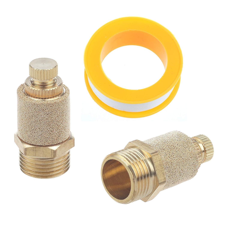 Body Adjustable Pneumatic Muffler 1//8 BSPT Copper Air Flow Control 2pcs