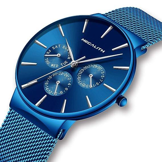 Relojes Hombre Relojes de Hombre Lujo Moda Impermeable Fecha Calendario Diseño Simple Analogicos Cuarzo Relojes de Pulsera de Malla de Acero Inoxidable ...