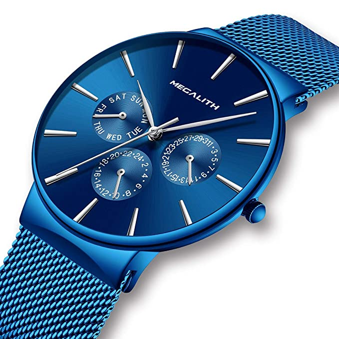 Amazon.com: Mens Watches Men Waterproof Sport Luxury Thin Blue Stainless Steel Mesh Wrist Watch Fashion Business Dress Day Date Analogue Watches for Men: ...