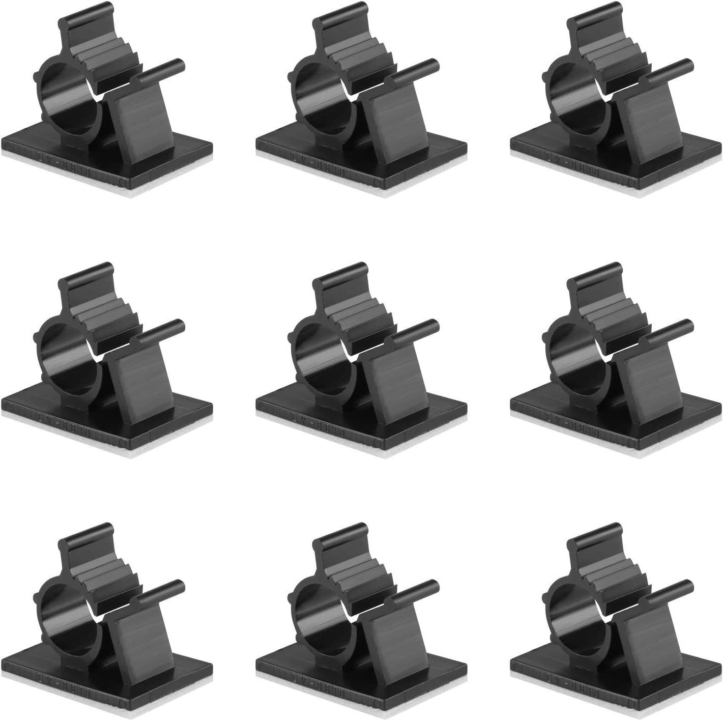 GWHOLE 60 Pcs Adjustable Adhesive Cable Clips Cord Organizer Wire Management for Car, Office and Home