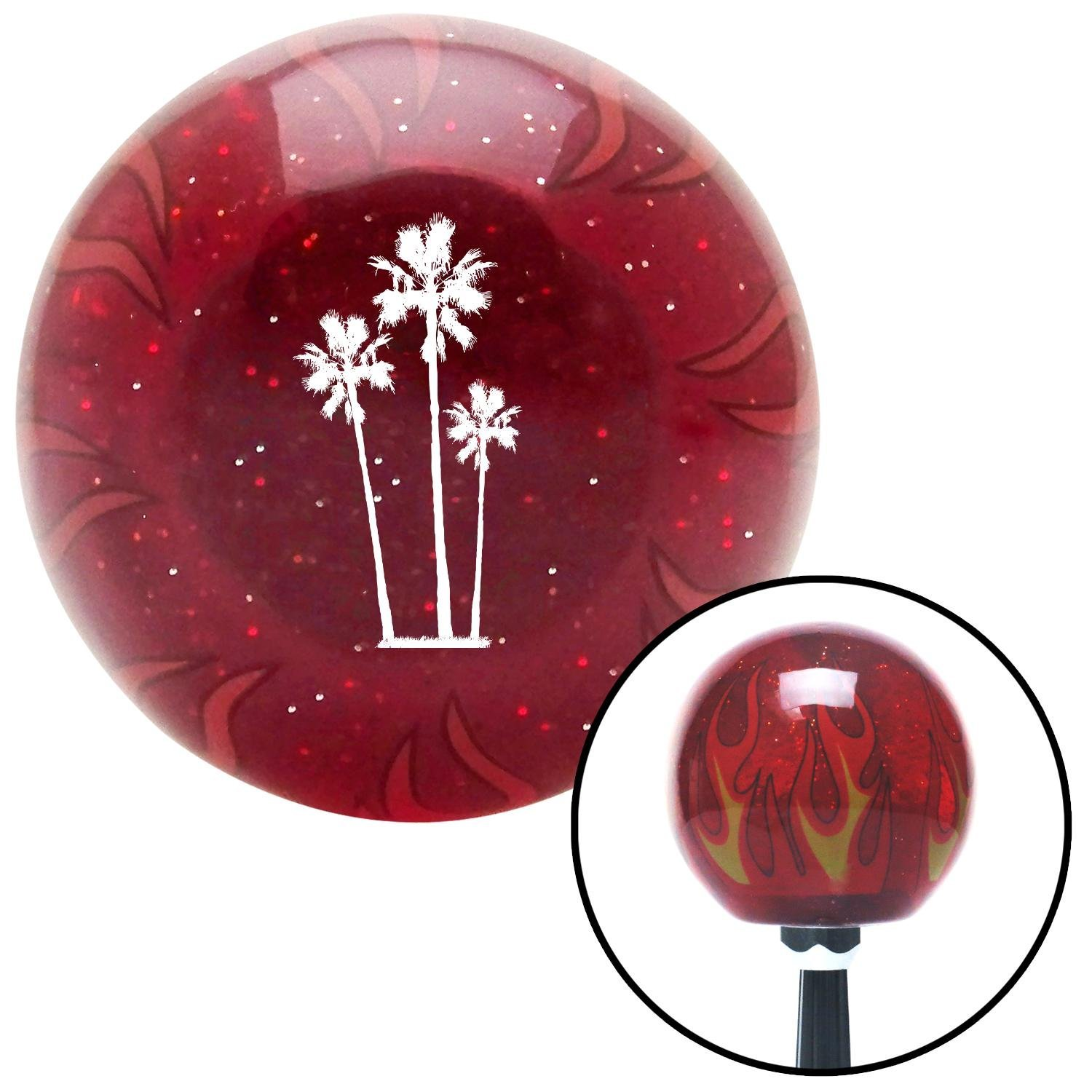 White Group of Palms American Shifter 240926 Red Flame Metal Flake Shift Knob with M16 x 1.5 Insert