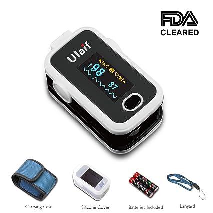Ulaif Oxímetro Pulsioximetro de Pulso de Dedo Monitor de Saturación de Oxígeno en Cuerda de Sujeción