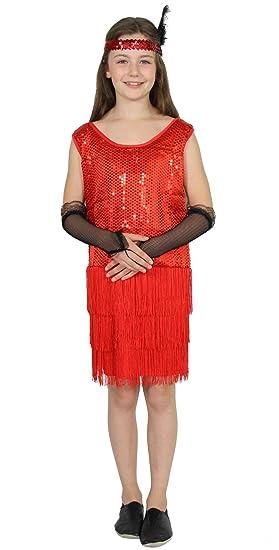 FOXXEO Vestido de Lentejuelas Rojo de los años 20 con Flecos para ...