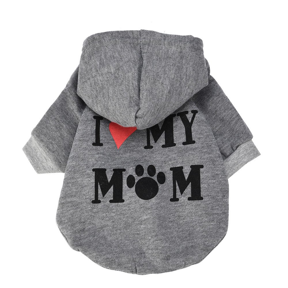SIRIAY Pet Hoodies,Coat for Small Dogs Love Mom Printed Winter Warm Sweatshirt Clothing Pet Puppy Dog Coat Jackets Clothes Gray
