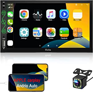 Hieha Double Din Car Stereo with Bluetooth Apple CarPlay Android Auto Car Multimedia Player 7