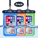 Beylife Waterproof Case 3 Pack Universal Waterproof Phone Case Transparent TPU iPhone Waterproof Pouch Cell Phone Dry Bag with Durable Lanyard for Device up to 6 inch (Blue&Green&Orange)