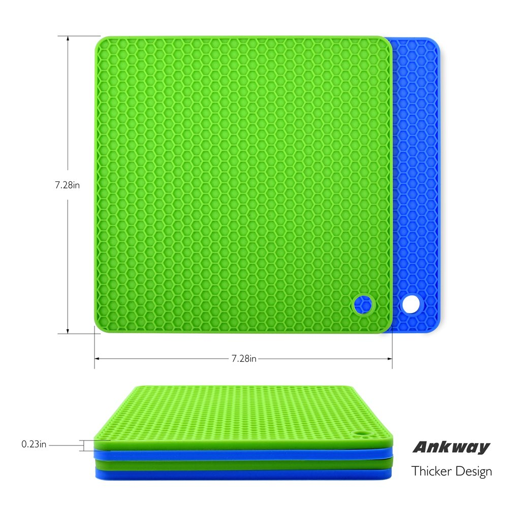 Silicone Pot Holders (Set of 4), Ankway Silicone Trivets Multi-Purpose Hot Pads Heat Resistant to 450 °F, Non-slip, Insulation, Durable, Flexible Trivet for Table Kitchen(2 Blue & 2Green) by Ankway (Image #6)