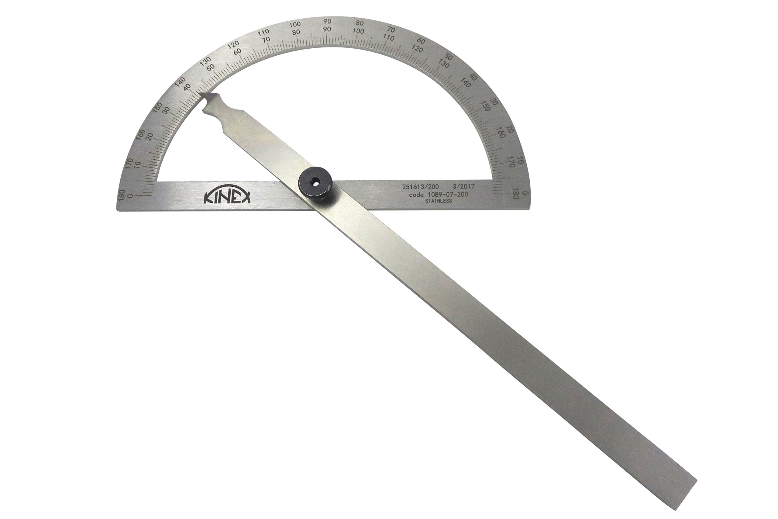 Kinex 1089-07-200 7-3/4'' (200 mm) Stainless Steel Machinist Protractor Angle Finder