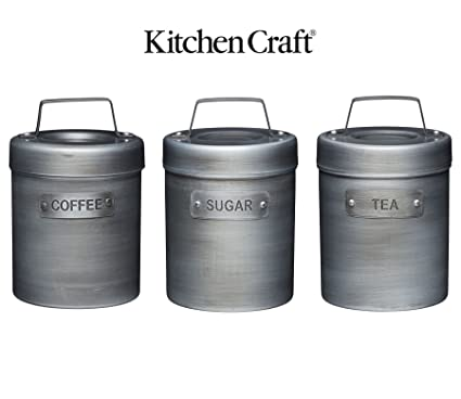 Kitchencraft Industrial Kitchen Vintage Style Metal Tea Coffee And Sugar Caddy Container Canister