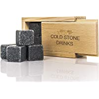 ADEPTNA Premium 8pc Whisky Ice Stones Drink Cooler Cubes Whiskey Scotch Rocks Granite Comes in Exclusive Wooden Domino Box- It's an Extremely Awesome Gift Idea for Men