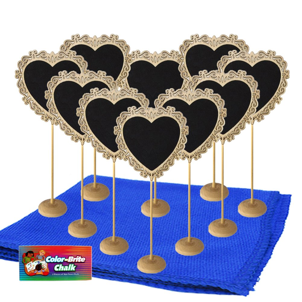 Mini Chalkboard Signs With Stand Chalk And Cleaning Cloth For Message Board Signs Wedding Party Table Numbers Place Card Decorative Sign 12 Piece Set (wood style 2)