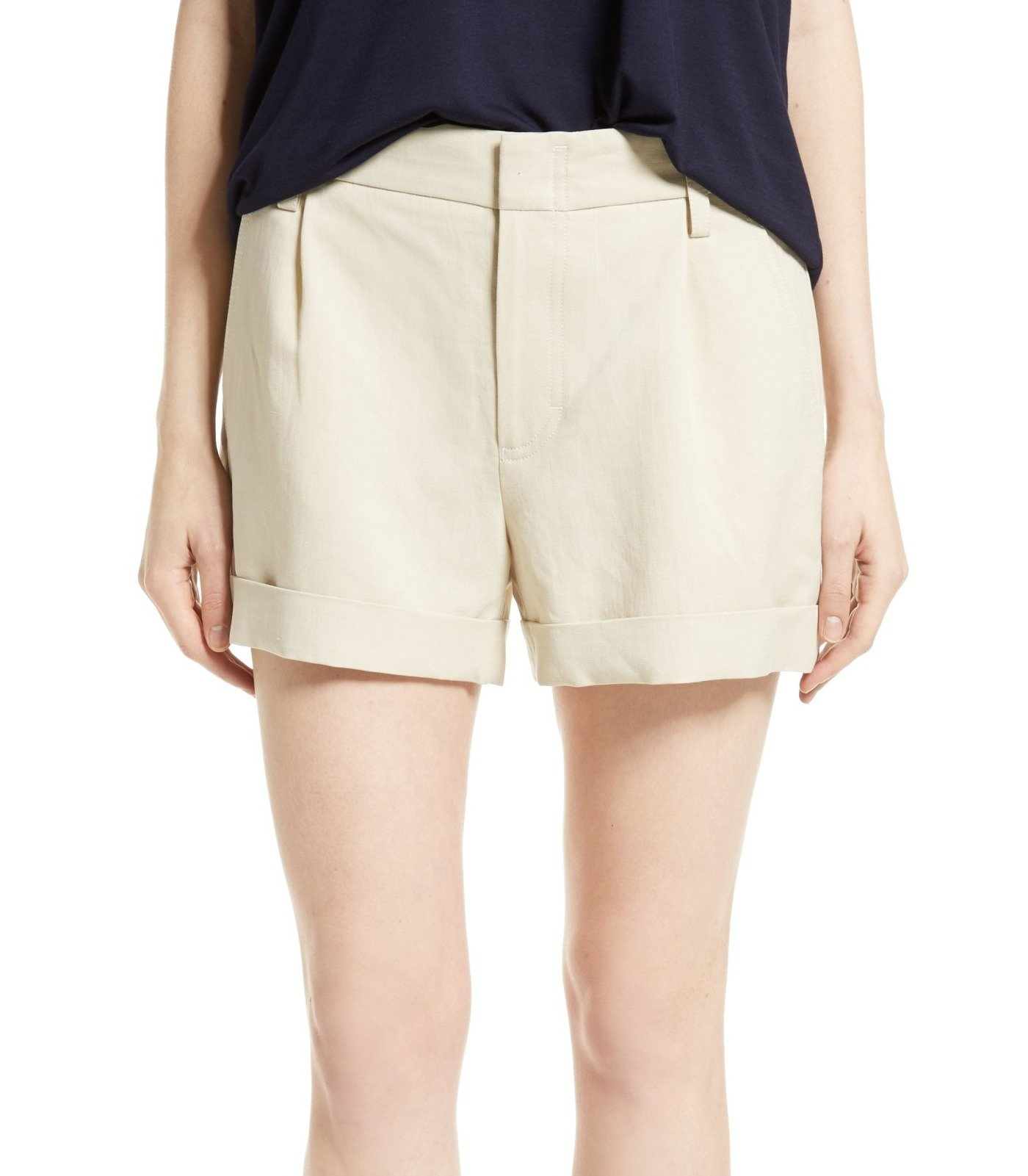Vince Women's Cuffed Front Tab Pleated Shorts Beige 12